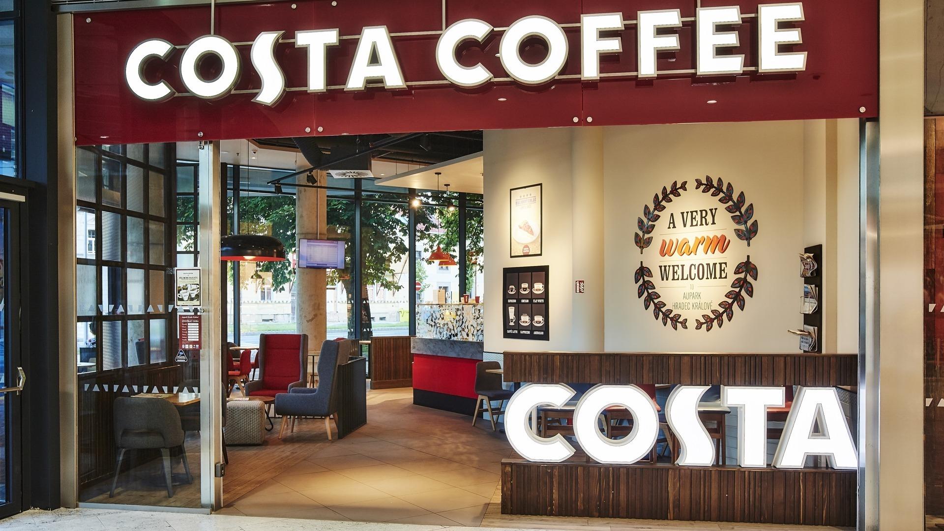 FESCHU Costa Coffee Aupark Hradec Králové vstup logo