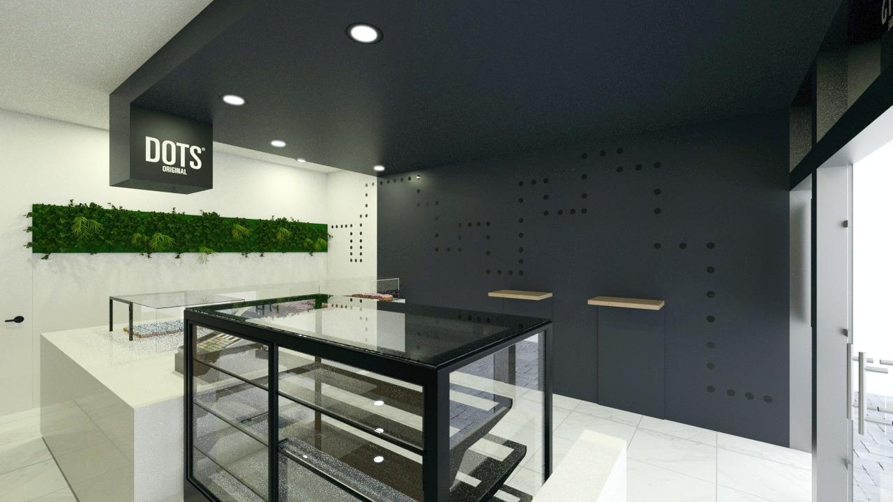 FESCHU Dots 3D návrh pult a vitrína