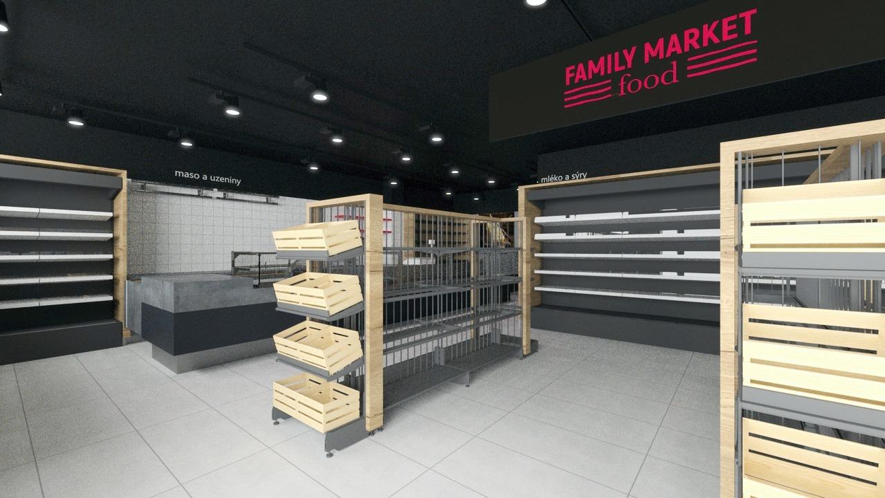 FESCHU Family Food Market regály s dřevěným obložením a bedýnkami