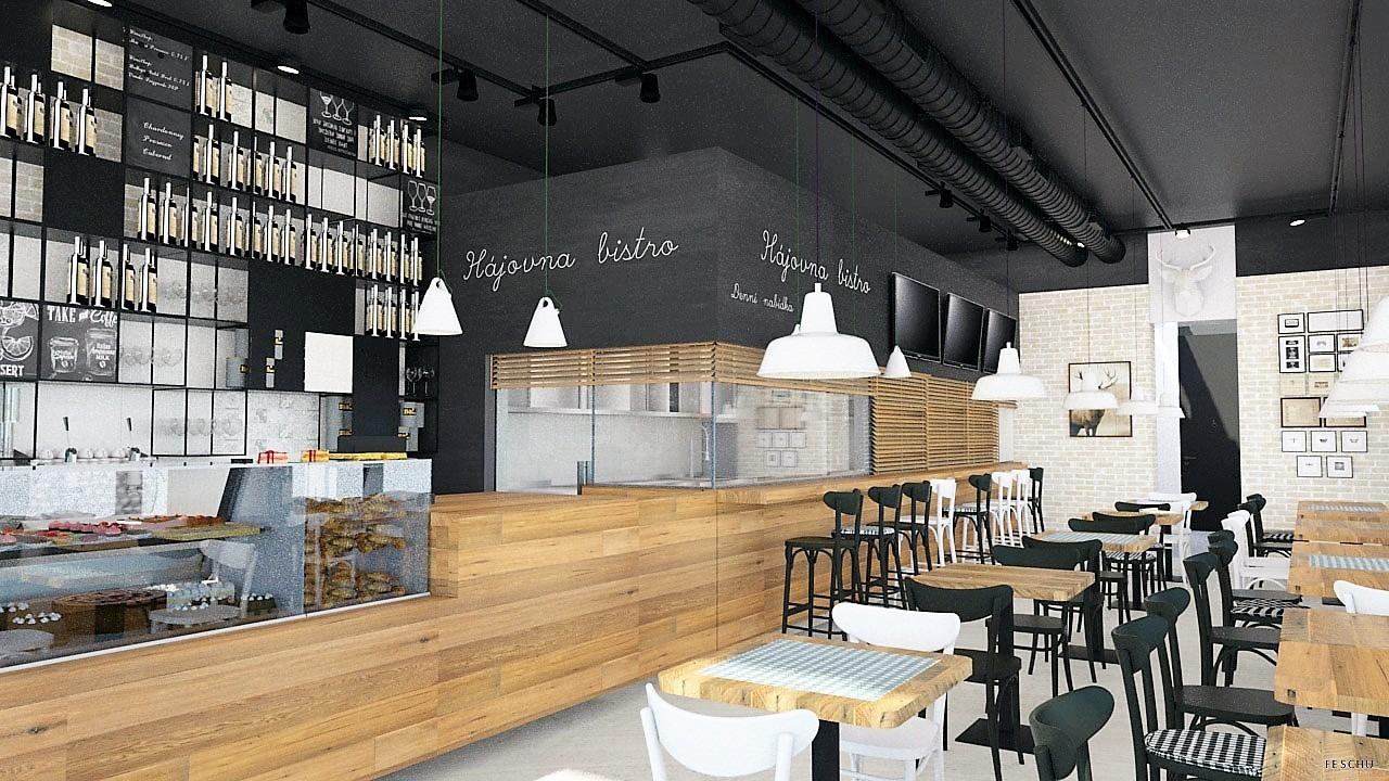 FESCHU restaurace kavarna Hajovna prodejní pult posezení a zázemí
