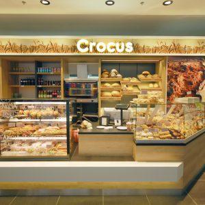 Vitrína na pečivo v prodejně Crocus