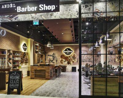 Barber shop Anděl - osvětlení nad recepcí a kadeřnickými křesly IMOON Kronos P