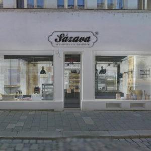 design fasády prodejny Pekařství Sázava v Olomouci navazuje na interiér